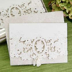 Classic White Floral Cutout Shower Invitations
