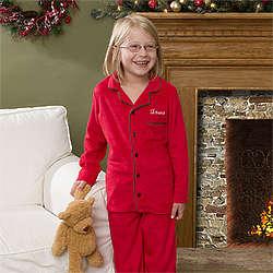 Holiday Cheer Embroidered Youth Pajama Set