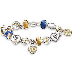 St. Louis Rams Charm Bracelet with Swarovski Crystals