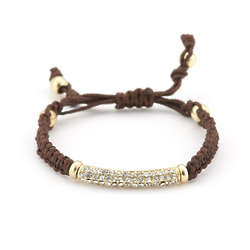 Pave Crystal Bar Bracelet with Gold and Brown Macrame