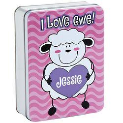 Lamb Personalized Valentine Treat Tin