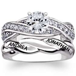 Sterling Silver Engraved Round Cubic Zirconia Wedding Ring Set