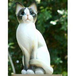 Blue Eyed Kitten Wood Statuette