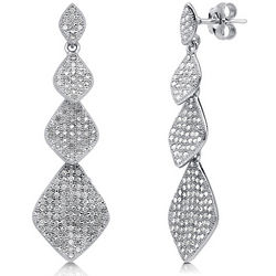 Cubic Zirconia and Sterling Silver Diamond Shaped Dangle Earrings