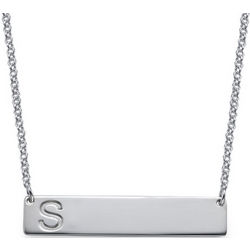 Horizontal Bar Necklace with Initial