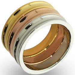 3-Tone Metal Stackable Concave Ring Set