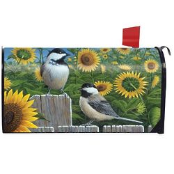 Chickadees & Sunflowers Summer Magnetic Mailbox Cover