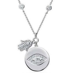 Sterling Silver CZ Evil Eye Pendant with Hamsa Hand Charm
