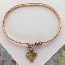 14K Gold Jerusalem Cross Bangle Bracelet