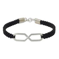 Infinite Friendship Sterling Silver Bracelet in Black Leather