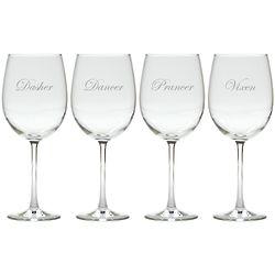 Santa's Reindeer Set of 8 Wine Glasses