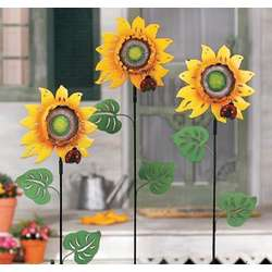 Metal Sunflower Stake Set