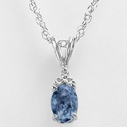 Sterling Silver Lab-created Sapphire Oval Pendant
