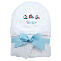 Personalized Sailboats Hooded Towel