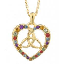 Crystal Rainbow Trinity Knot Heart Pendant