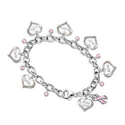 Circle of Hope Engraved Heart Charm Bracelet