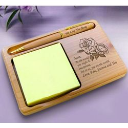 Personalized Flower Wooden Notepad and Pen Holder