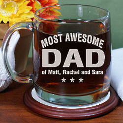 Most Awesome Parent Engraved Glass Mug