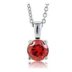 Sterling Silver Garnet Cubic Zirconia Solitaire Pendant Necklace