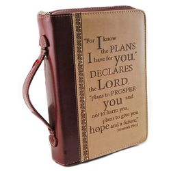 Medium Leather Bible Cover with Scripture Verse