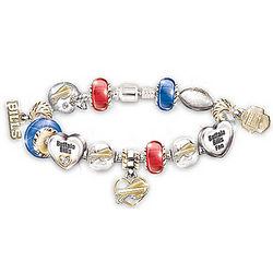 Buffalo Bills Charm Bracelet with Swarovski Crystals