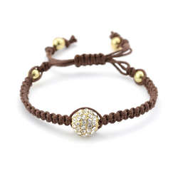 Shamballa Inspired Crystal and Brown Macrame Bracelet