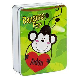 Monkey Personalized Valentine Treat Tin