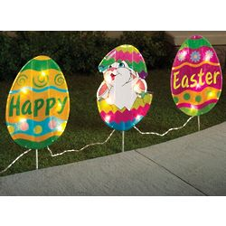 Bunny Hatching from Egg Outdoor Light Set