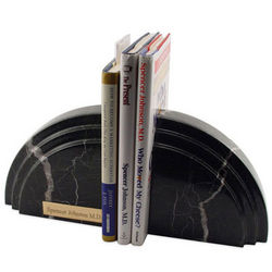 Personalized Black Marble Dome Bookends
