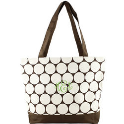 Personalized Chocolate Canvas Polka Dot Tote