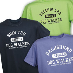 Personalized Dog Walker Athletic Dept. T-Shirt