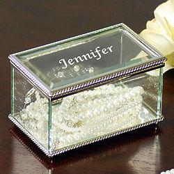 Engraved Name Beveled Glass Jewelry Box