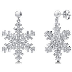 Cubic Zirconia and Sterling Silver Snowflake Dangle Earrings