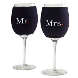 Mr. and Mrs. Wine Glass Koozies