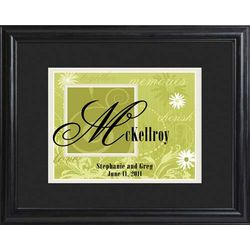 Garden Green Personalized Couples Name Framed Sign