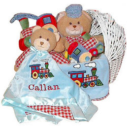 Baby Boy's Personalized Train Bear Gift Basket