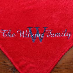 Ruby Red Personalized Name and Monogram Fleece Blanket
