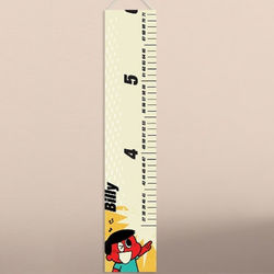 Boy's Retro Cartoon Personalized Height Chart