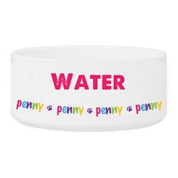 Colorful Paw Print Bowl with Personalized Name in Pink