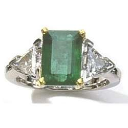 Platinum Ring with 2.5 Carat Emerald & Diamond Trillions
