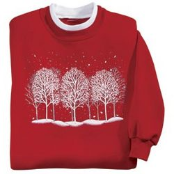 Plus Size Sequined Winter Trees Sweatshirt