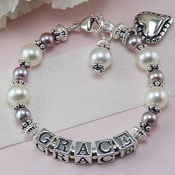 Grace Freshwater Cultured Pearl Personalized Birthstone Bracelet