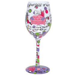 Mommy's Time Out Hand-Painted Wine Glass