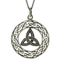 Sterling Silver Trinity Knot Pendant with Celtic Weave Design
