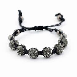 Shamballa Inspired Black Crystal and Gunmetal Bead Bracelet