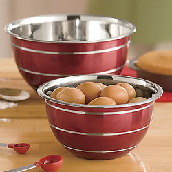 Red Stainless Steel Bowls