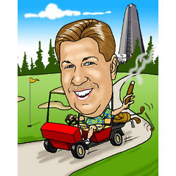 Golfer Digital Caricature