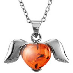 Winged Sterling Silver Baltic Amber Heart Pendant