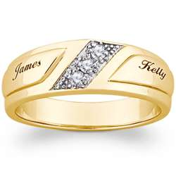 10K Gold Cubic Zirconia Men's Engraved Name Wedding Band