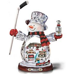Chicago Blackhawks Crystal Snowman Figurine